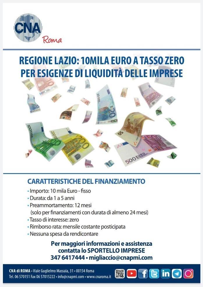 Finanziamento Regione Lazio - 10mila euro a tasso zero per esigenze di liquidità delle imprese