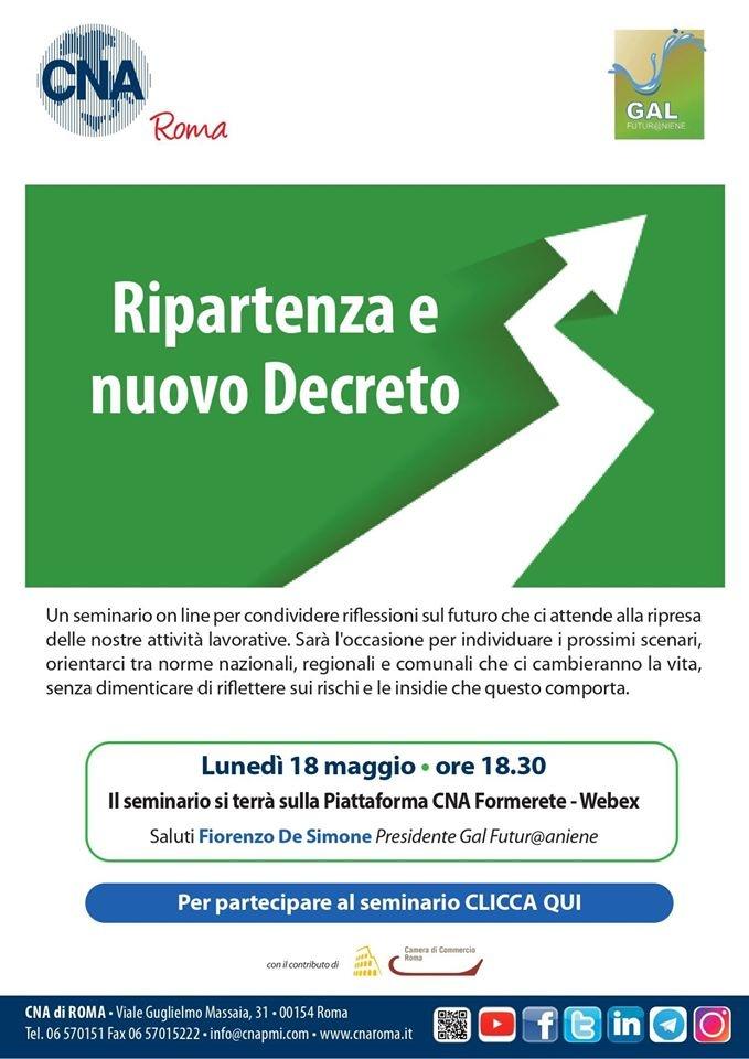 Ripartenza e Nuovo Decreto - Seminario Gratuito Online per le imprese del territorio