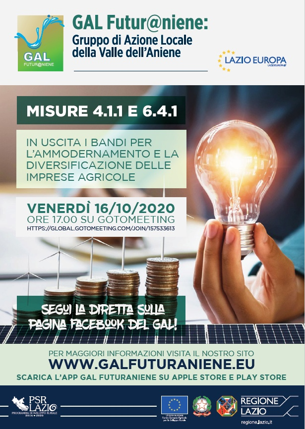 Presentazione su GoToMeeting delle Misure 4.1.1 e 6.4.1 - Bandi per l'Ammodernamento e la Diversificazione delle Imprese Agricole